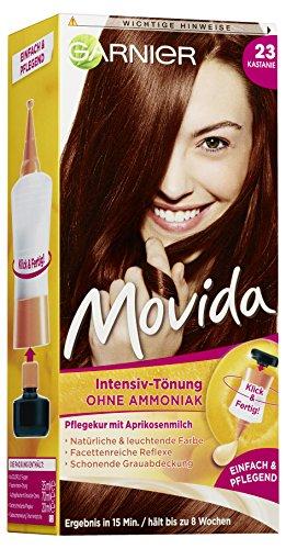 GARNIER Tönung Movida Pflege-Creme / Intensiv-Tönung Haarfarbe 23 Kastanie (für leuchtende Farben, auch für graues Haar, ohne Ammoniak), 3er Pack Haarcoloration-Set