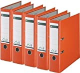 5er Sparpack Leitz 1010 Qualitäts-Ordner Plastik breit, mit patentierter 180º-Präzisionsmechanik (orange)