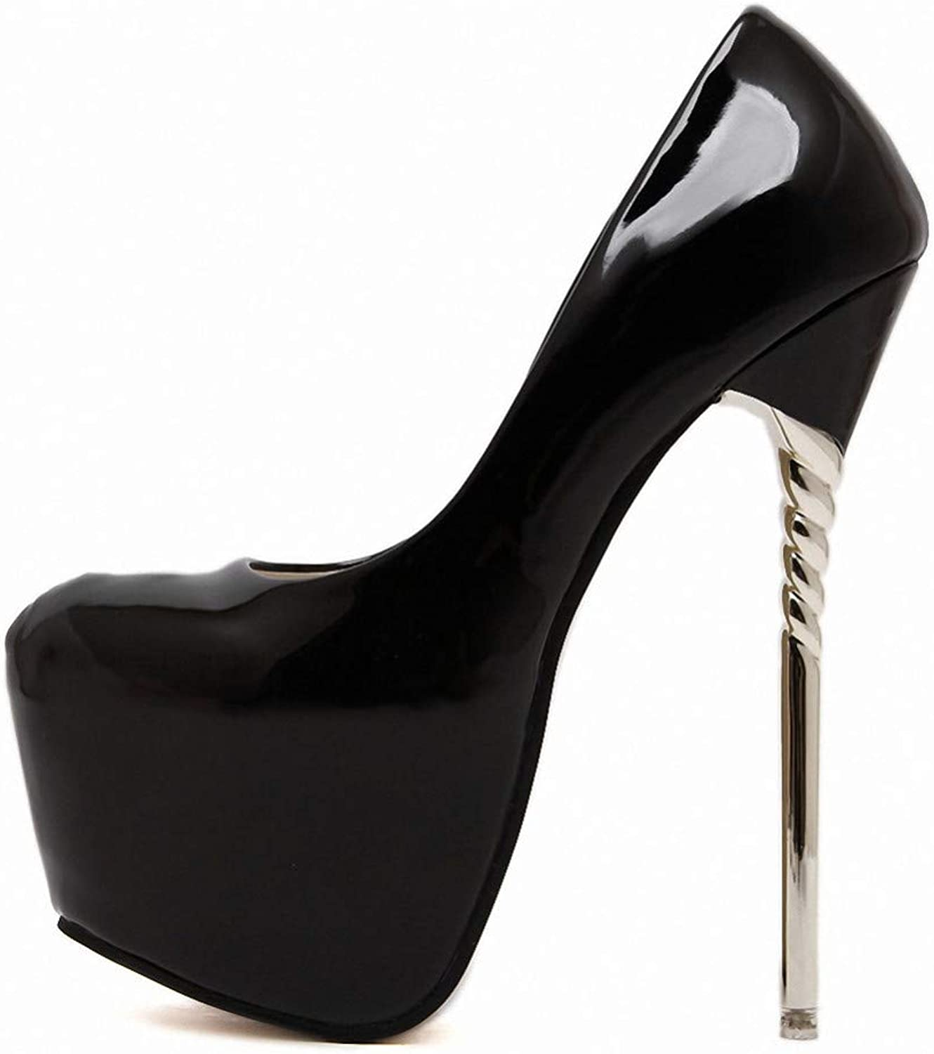 JQfashion Ladies'High-Heeled shoes Lacquered Leather Single shoes High Waterproof Platform Source Shallow Sexy Nightclub 16Cm