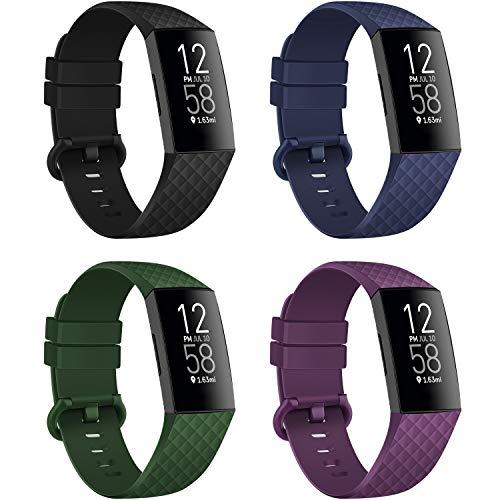 poshei 4 Pack Armbänder Kompatibel mit Fitbit Charge 3 / Charge 3 SE für Damen Herren, Klassisches Wasserdichtes Ersatz- Sportarmband Weiches Silikonarmband