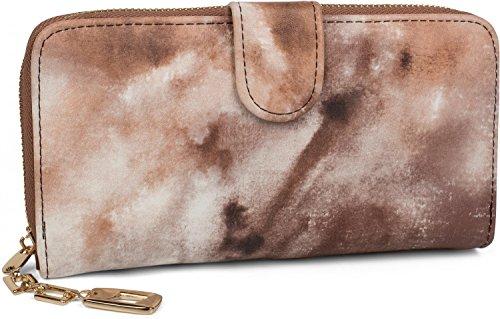 styleBREAKER Geldbörse mit Aquarell Muster, umlaufender Reißverschluss, Portemonnaie, Damen 02040075, Farbe:Braun-Beige