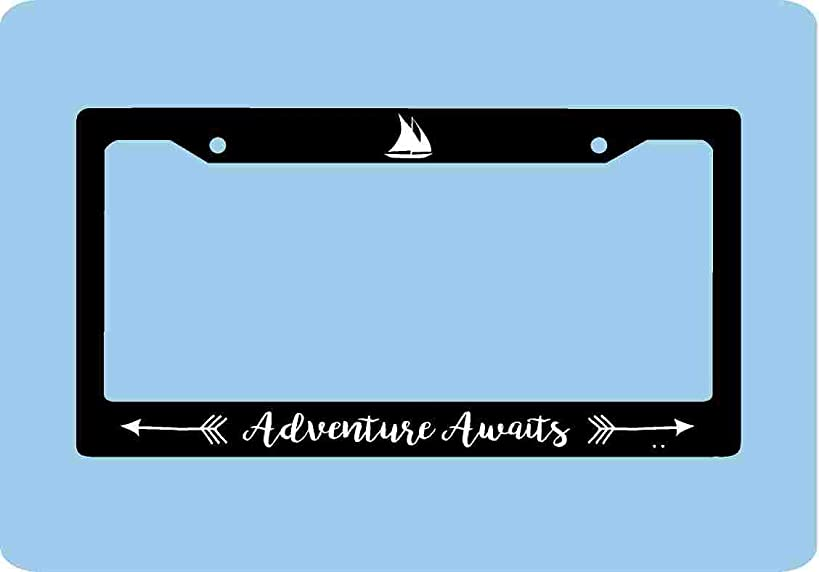 Dwi24isty Auto License Plate Frame Adventure Awaits License Plate Frame Sailing Adventure License Plate Frame Sailboat Accessories License Plate Art