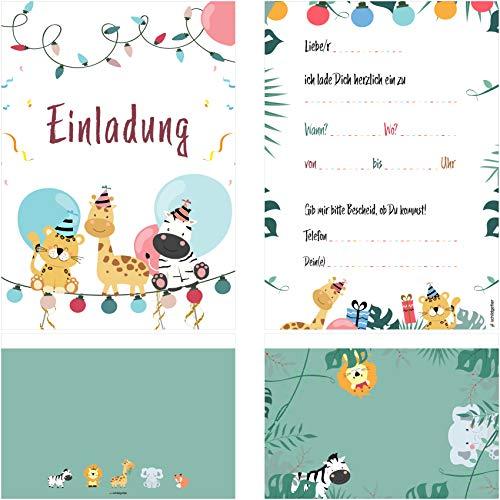 schildgetier Einladung Tiere - 6 Einladungskarten Geburtstag Kinder Mädchen Jungen DIN A5 Partyeinladung Geburtstagskarte Kindergeburtstag mit 6 Umschlägen