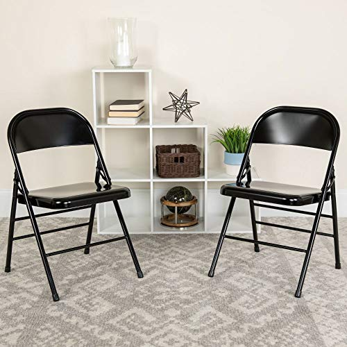 Flash Furniture HERCULES Series Triple Braced & Double Hinged Black Metal Folding Chair