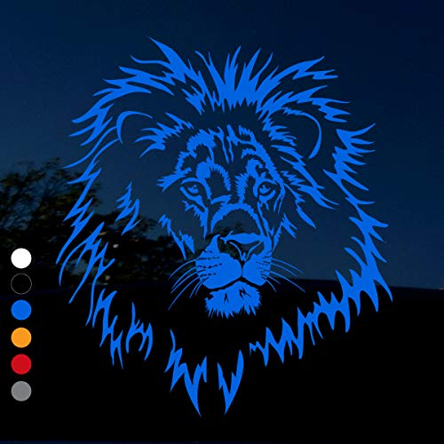 Lion Decal - Beautiful Large Wild Male Lion Head - 'King of The Pride' - for Cars/Windows/Trucks - (Blue, 10.25 inches x 9 inches)