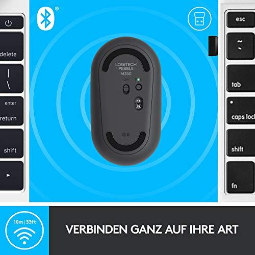 Logitech M350 Pebble Kabellose Maus, Bluetooth und 2.4 GHz Verbindung via Nano USB-Empfänger, 18-Monate Akkulaufzeit, 3 Tasten, Leises Klicken und Scrollen, PC/Mac/iPadOS – Grafit/Schwarz - 5