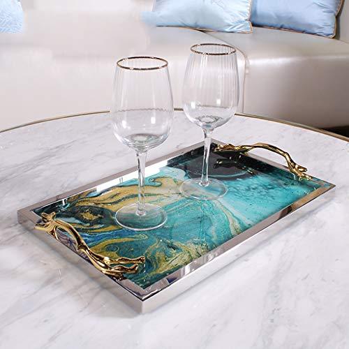 Métal Plateau De Luxe Nordique, Fruits Maison Bol Cosmétique Plateau De Rangement, Rectangulaire Plateau Thé Salon Café Décoration De Table (Color : C)