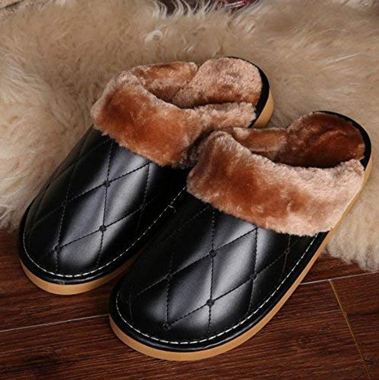 JaHGDU Men's Cotton Slippers Indoors to Keep Warm in Autumn and Winter at Home Faux-Leather Slippers for Men