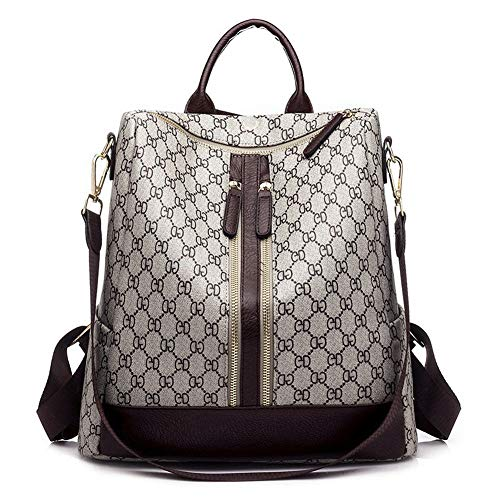LEIBU Rucksack Damen PU Leder Vintage Groß/Rucksackhandtaschen Handtasche Umhängetaschen Schultertasche Damen PU Leder Reißverschluss Wasserdichte Anti-Diebstahl