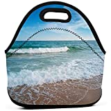 Bolsa de almuerzo portátil Tote Sea Wave Ocean Beach Bolsa de almuerzo de neopreno Cremallera de alimentos Almacenamiento Caja de almuerzo para hombres Mujeres Niños