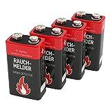 4 ANSMANN Alkaline longlife Rauchmelder 9V Block Batterien - Premium Qualität für höhere Leistung, 9V Batterie ideal für Feuermelder, Bewegungsmelder, Alarmanlagen & Kohlenmonoxid Warnmelder