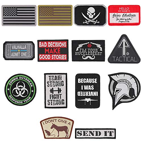 "14er Tactical Morale Patches (14-Pack) | Hook & Loop Backed, 3"" x 2"" PVC Flags & Funny Patches 