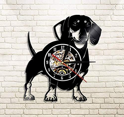 N/A Libjia Wirehaired Dackel Hund Wanduhr Hund Wiener-Hund Vinyl Schallplatte Wanduhr Pet Shop Welpe Wanddekor Vintage Uhr Rasse Geschenke