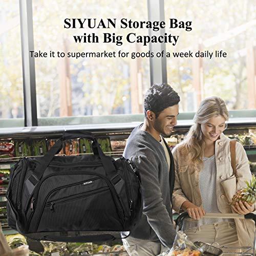 SIYUAN Mens Gym Bag,Sports Duffel,Women Storage Bag Shopping Bag Duffle Bag Water-resistant with Shoe Compartment 45L 17 Inches Length,Black,Medium