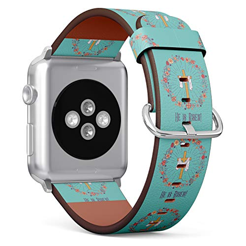 R-Rong kompatibel Watch Armband, Echtes Leder Uhrenarmband f¨¹r Apple Watch Series 4/3/2/1 Sport Edition 38/40mm - The Cross with The Shroud Framed by a floral Wreath. Christ is Risen!