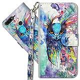 MRSTER Huawei Y7 2018 Handytasche, Leder Schutzhülle Brieftasche Hülle Flip Hülle 3D Muster Cover mit Kartenfach Magnet Tasche Handyhüllen für Huawei Y7 2018 / Honor 7C. YX 3D - Colorful Owl