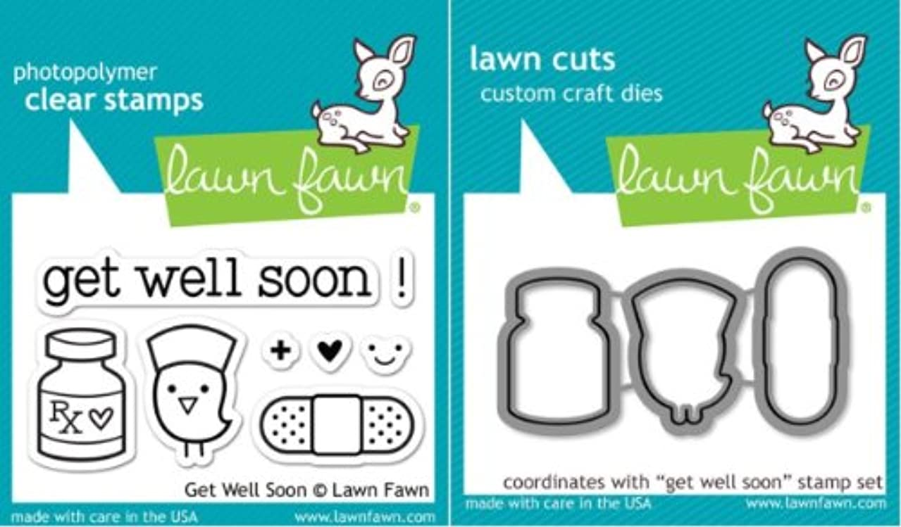 Lawn Fawn Get Well Soon Clear Stamp and Steel Die Set - Includes One Each of LF682 (Stamp) & LF683 (Die) - Custom Set