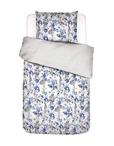 ESSENZA Ropa de cama Jackie flores azul hielo 135 x 200 + 1 x 80 x 80 cm