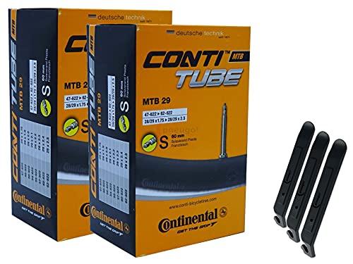 pneugo! Continental 47-62/622 S60 MTB 29 - Cámara de aire para bicicleta (2 unidades, 29', incluye 3 desmontadores de neumáticos)