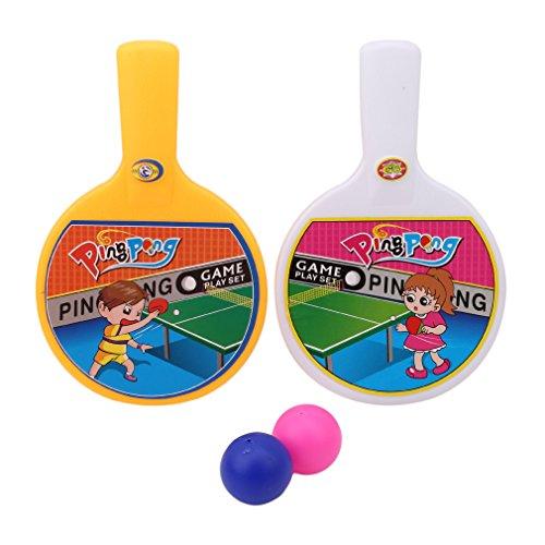 SEVENHOPE Tragbare Mini Tischtennisschläger 2 Ping Pong Fledermäuse Bälle Kinder Kinder Spielzeug