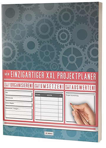 """Mein Projektplaner / Planen, Umsetzen, Auswerten! / 122 Seiten, Register, Kontakte uvm. / PR201 """"Zahnräder"""" / DIN A4 Softcover"""