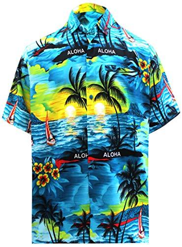 LA LEELA männer Hawaiihemd Kurzarm Button Down Kragen Fronttasche Beach Strand Hemd Manner Urlaub Casual Herren Aloha Teal blau_293 5XL 538