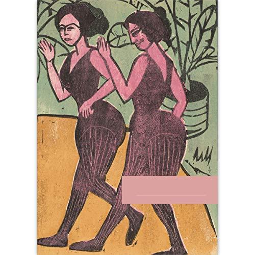 4 DIN A3 Malblöcke Kunst Motiv Ernst Ludwig Kirchner: englische Stepp-Tänzerinnen 1911 • Malblock Zeichenblock Skizzen-Block 25 Blatt blanko, kopfverleimt, Papier 100g/m² - für Schule, Hobby