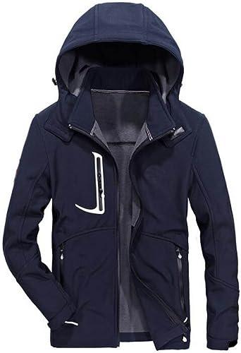 GKKXUE Veste d'assaut pour Hommes de plein air Décontracté Sports veste Veste à Capuche Coupe-Vent (Couleur   Bleu, Taille   M)