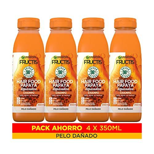 Garnier Fructis Hair Food Champú Papaya Reparadora, indicado para Pelo Dañado - Pack de 4 x 350 ml