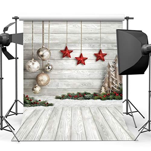 LYWYGG 5x7FT Fondo de Fotografía de Navidad Fondo de Tablero de Madera Blanco Fondo de Estrellas Fondo de Fotografía de Niños Decoración de Navidad CP-283