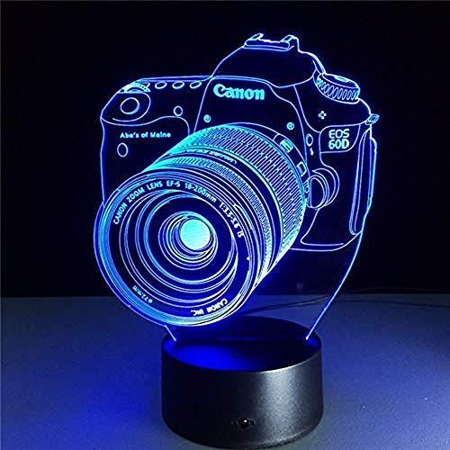 lampara quitamiedos infantil lampara 3d Camera Adecuado para dormitorio, habitación de niños, sala de estar, barra, carga USB táctil de 7 colores