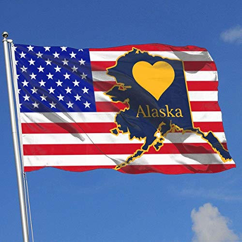 Oaqueen Flagge/Fahne Alaska Heart State Shape Breeze Flag 3 X 5-100% Polyester Single Layer Translucent Flags 90 X 150CM - Banner 3' X 5' Ft