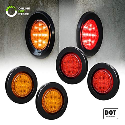 4pc 2.5' Amber + Red Round Trailer LED Marker Lights [DOT Approved] [Reflector Lens] [Grommet] [Flush-Mount] [Waterproof IP67] Marker Lights for Trailer Truck