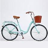 XUELIAIKEE Mujeres's Cruiser Bike con Cesta,Bicicleta Clásica Bicicleta Retro Bicicleta Beach Cruiser Velocidad única Bicicleta Commuter con Alta-Carbo Marco-Azul. 26 Pulgadas