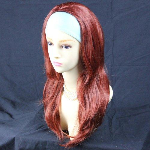 Rouge Renard 3/4 Perruque Pièce Extension de cheveux Longue Raide Dégradé Ondulée Pointes Demi Perruque