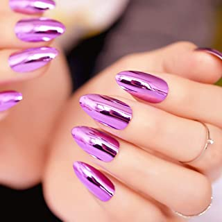 MISUD Metallic Fake Nails Rose Pink Oval Shape Gorgeous Mirror Design Reflection Press-on False Nails Chrome Salon Nails