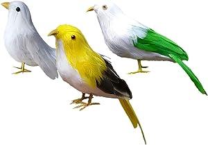 F Fityle Modelos Pájaros Aves Esculturas Realistas para Decoración Jardín Patio al Aire Libre Exteriores - 3 Piezas