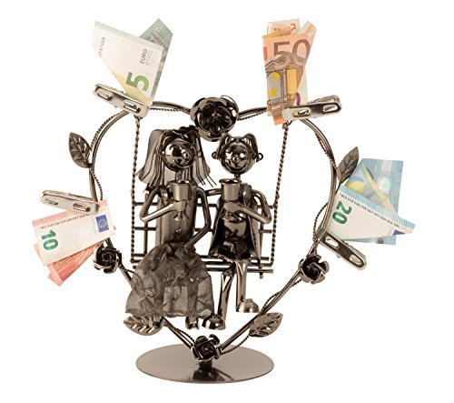Lifestyle & More Modernes Metall-Hochzeitspaar auf Einer Schaukel für Geldgeschenke Höhe 24 cm Breite 23 cm