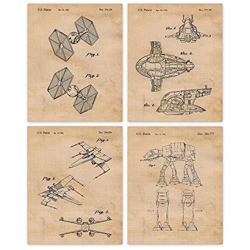 Vintage Star Land & Air Vessels Patent Poster Prints, Set of...