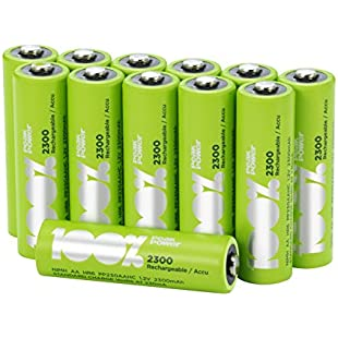 12 x AA Rechargeable 2300mAh 100%PeakPower NiMH Batteries NEWLY released rechargeable batteries with extensive range of sizes, committed to keeping your device on 100% of the time
