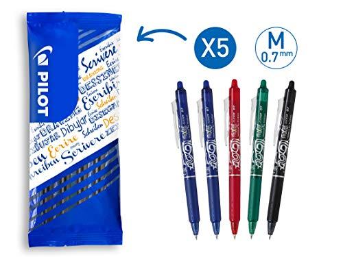 PILOT FriXion Clicker, radierbarer Tintenroller, 5er Set (Blau, Rot, Grün, Schwarz)