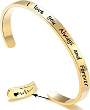 EGOO&YAMEE Inspirational Cuff Bracelet Bangle Keep Going Motivational Engraved Mantra Quote Stainless Steel Bangle Best Friend for Women Personalized Gift