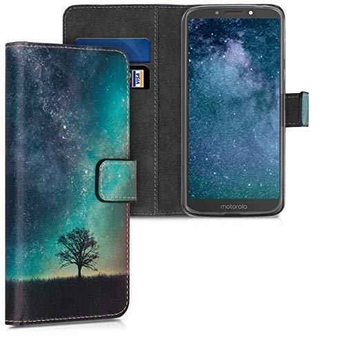 kwmobile Hülle kompatibel mit Motorola Moto E5 - Kunstleder Wallet Hülle mit Kartenfächern Stand Galaxie Baum Wiese Blau Grau Schwarz
