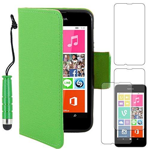 ebestStar - Cover Compatibile con Nokia Lumia 530 Custodia Portafoglio Pelle PU Protezione Libro Flip + Mini Penna +3 Pellicole plastica, Verde [Apparecchio: 119.7 x 62.3 x 11.7mm, 4.0'']
