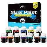 Glass Paint, 12 Colors Vibrant Glass Paint for Wine Glasses, Light Bulbs, DIY Painting (12 x 25ml)