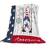 Throw Blankets Gnome Hold American Star Flag Pattern Soft Breathable Warm Cozy Flannel Fleece Bed Blanket Bedspread for Home Sofa Couch Chair Living Bedroom All Seasons Use, Patriotic Fireworks 50x60