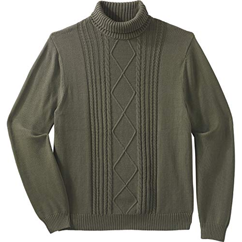 Liberty Blues Men's Big & Tall Shoreman's Cable Knit Turtleneck Sweater - Big - 4XL, Sand Stone