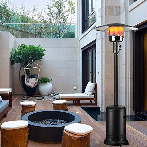 Patio Heater with Wheels & Table Large, 44330 BTU of Heat to Warm Areas, Floor Standing Stainless Steel Portable Outdoor Propane Gas, Overheat Protection Stand-Up Heating Lamp for Garden Party