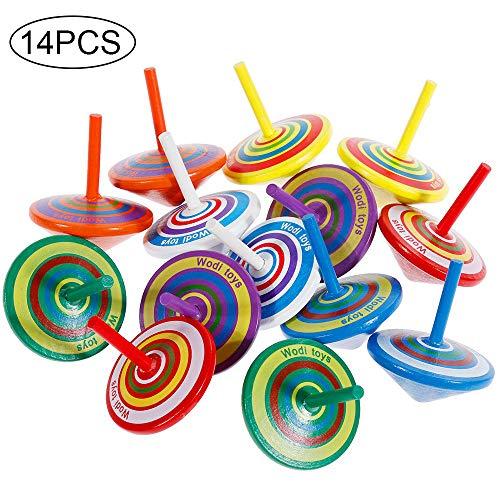 Faburo 14 Pezzi Trottola in Legno, Mini Giroscopio in Legno Colorati Artigianali Set per Bambini Giocattolo Partito