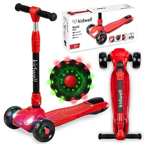 Kidwell RACE Kinder Roller Dreiradscooter | LED-Räder Scooter für Junge und Mädchen ab 3 Jahre | einstellbaren...